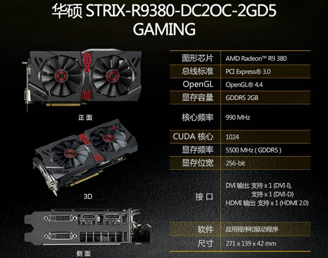 华硕R9 390-DC2-8GD5独立显卡-装机之家