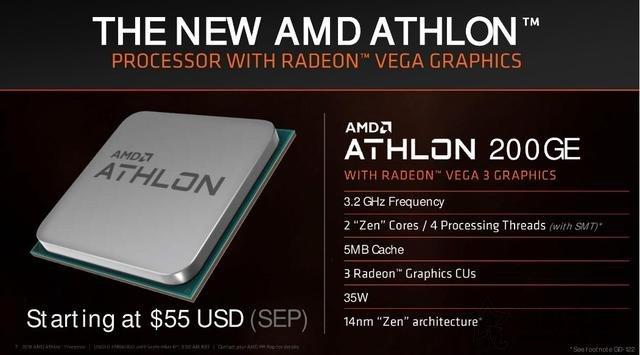 AMD新款速龙200GE、220GE、240GE正式发布!