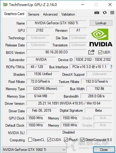 GTX1660Ti评测:加入GTX1070和GTX1060 6G性能实测对比
